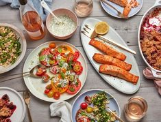 Summer Dinner Menu via GOOP - The best thing about summer produce is that it doesn't require much cooking. So we put together a clean and simple summer menu designed to let summer's bounty shine (and to keep you, Chef, cool, calm, and collected). Summer Dinner Party Menu, Birthday Dinner Menu, Dinner Party Recipes, Birthday Dinners, Summer Menu Ideas, Party Summer, Dinner Ideas, Salmon Dinner, Fish Dinner