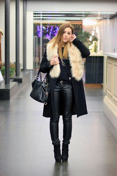 Get this look: http://lb.nu/look/2959203  More looks by Ana K. Psycho Couture: http://lb.nu/psychocouture  Items in this look:  H&M Faux Fur Scarf, New Yorker  Faux Leather Pants