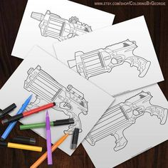 Nerf Gun, Coloring Books, Coloring Pages, Have Some Fun, Gel Pens, 7th Birthday, Vector File, Sharpie, Zentangle