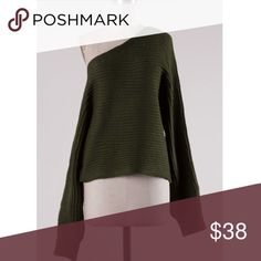Coming soon •Off the shoulder long sleeve  •Cable Knit Sweater •100% Acrylic  •Color: Olive •Brand new   -PRICE WILL LOWER AND BE FIRM @ $30 Sweaters Crew & Scoop Necks