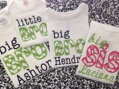 Big or Little BROTHER or SISTER applique by ThreeMonkeysUnique