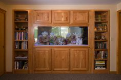 Built in see through aquarium surrounded by cherry cabinets.  Designed by J.S. Brown & Co.