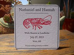 Save the date letterpress coaster.  With lobster!  Maybe not a lobster?  Lol.