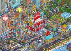 TAIYOKENKI RENTAL CO. Through the rental business of construction machinery, TKR contributes to the creation of a rich city.Our illustration was used as a recruitment tool. Hiroshima Japan, American Illustration, Communication Art, One Pic, Pixel Art, Illustrators, City Photo, Art Projects, Behance