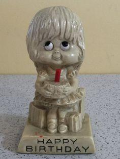 Retro Russ Bearie Figurine  Happy Birthday by PineStreetPickers