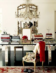 Desk with mirror and crystal chandelier