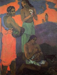 "Paul Gauguin — Women on the Seashore (Motherhood), [[MORE]]Painting: Oil on canvas, x cm. ""Abandoning European civilization, Gauguin spent much of the last. Vincent Van Gogh, French Art, Oil Painting Woman, Painting, Henri Matisse, Art, Post Impressionists, Gauguin, Art History"