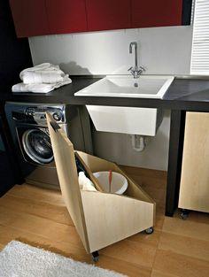Aproveitando os espaços na lavanderia pequena