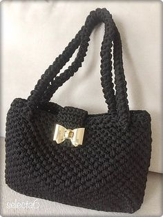 Handmade black bag,crochet, hand bag,macrame thread