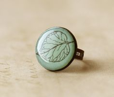 FREE WORLDWIDE SHIPPING  Frosted Leaf Clay Ring by smafactory, $15.00