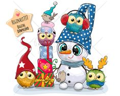 Snowman Clipart, Christmas Clipart, Owl Vector, Vector Free, Cute Owl, Cute Images, Typography Prints, Nursery Prints, Paper Goods