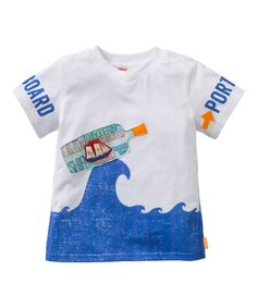 This White & Blue 'Starboard & Port' V-Neck Tee - Toddler & Boys by Oilily is perfect! #zulilyfinds