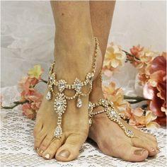 VICTORIA wedding tiara barefoot sandals - gold