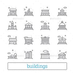 Building Thin Iine Icons - #Buildings Objects Download here: https://graphicriver.net/item/building-thin-iine-icons/20132441?ref=alena994