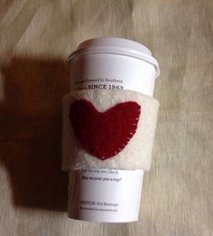 Thick wool felted coffee cozy big heart by mcleodhandcraftgifts