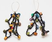 Handmade original style hand crochet cord with tiny ceramic beads earring