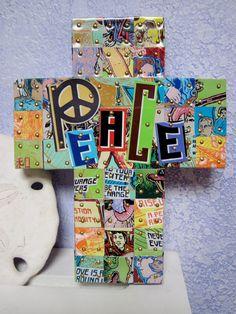 Peace CrossHand cut aluminum tiles from Peace tea by SmithMosaics, $28.00