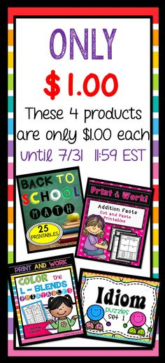 Check out these 4 products for only $1.00 each.  Limited Time Only 7/31/15  11:59 EST