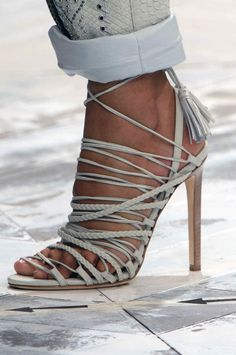 #RobertoCavalli SS 2014, strappy plaited sandal with tassel