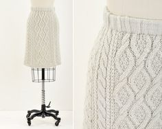 Vintage cable knit sweater skirt
