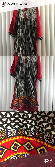 Indian styled top/kurta This was never worn, made of cotton.   If in doubt, please ask for measurements before buying. Tops