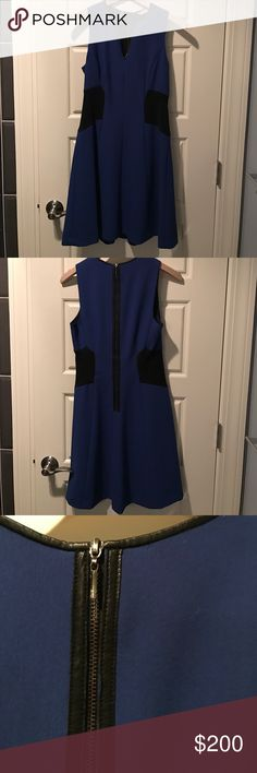 Rebecca Taylor dress with leather trim Worn once. Excellent condition. Rebecca Taylor Dresses Midi