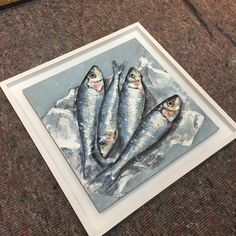 GILES WARD - SARDINES 400 x 400 Oil painting with acrylic paint base. An experimental piece in preparation for a larger work