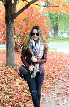 Christina from Oh So Glam looking super cozy in our Blanket Scarf! #Aerie
