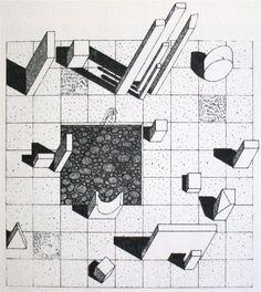 Herbert Bayer, design for sculpture garden at the Aspen Institute, 1955