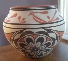 """Native American Zuni Indian Pottery by Marcus Homer Zuni New Mexico 8""""x 9.5"""" HS"""