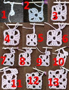 Free Crochet Doily Patterns, Crochet Circles, Granny Square Crochet Pattern, Crochet Chart, Crochet Squares, Crochet Motif, Crochet Designs, Crochet Stitches For Beginners, Beginner Crochet Tutorial