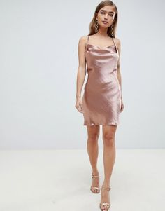 Find the best selection of ASOS DESIGN Petite bias cut cowl neck mini dress in high shine satin. Shop today with free delivery and returns (Ts&Cs apply) with ASOS! Silk Dress, Silk Skirt, Dress Shorts Outfit, Dress Skirt, Asos, Petite Dresses, Short Dresses, Beautiful Casual Dresses, Satin