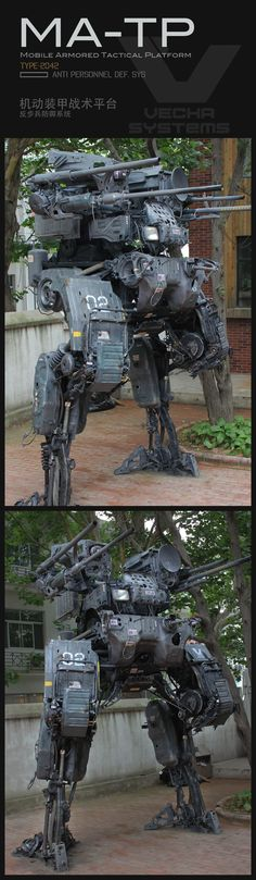 Some people like to decorate their lawn with garden gnomes, but this guy went for a custom-built killer robot. Steampunk, Arte Cyberpunk, Mekka, Future Soldier, Robot Design, Mechanical Design, War Machine, Machine Parts, Sci Fi Fantasy