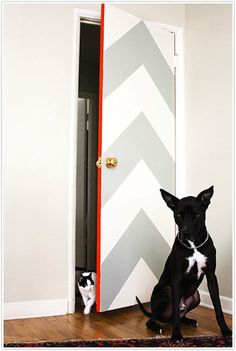 DIY funky chevron door really like this for a laundry room! maybe in navy and pink