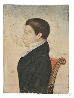 Edwin Plummer (Massachusetts, c. 1802-1880) Four Portraits of Children.   watercolor and gouache