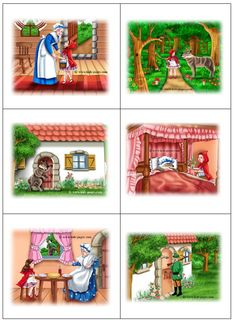speelplankaarten roodkapje Kindergarten Writing Activities, Kindergarten Special Education, Sequencing Activities, Teaching Kids, Picture Story Writing, Picture Story For Kids, Little Red Ridding Hood, Red Riding Hood, Verbo Can