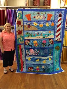 Love the top row - and top-left row.My Row by Row 2015 winning quilt at French Knot Quilts in Nacogdoches, Texas Ocean Quilt, Beach Quilt, Fish Quilt, Cute Quilts, Baby Quilts, Children's Quilts, Strip Quilts, Quilt Blocks, Quilting Projects