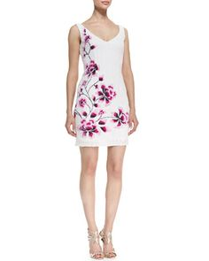 Sleeveless Sequined Cherry Blossom Cocktail Dress, Pearl White by Theia at Neiman Marcus.