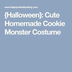 {Halloween}: Cute Homemade Cookie Monster Costume