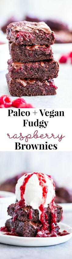 These insanely fudgy raspberry brownies are easy to whip up and just happen to be good for you! Rich chocolate paleo and vegan brownie batter is baked with an easy raspberry sauce for the ultimate. Paleo Sweets, Vegan Dessert Recipes, Brownie Recipes, Paleo Recipes, Vegetarian Desserts, Healthier Desserts, Keto Desserts, Sweet Recipes, Raspberry Brownies