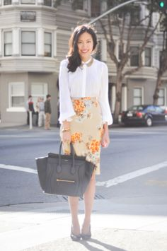 Love the sheer blouse with printed skirt. is it spring yet?