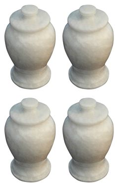 Brand New Set of 4 White Marble Keepsake Funeral & Cemetery-Cremation Urns for ashes
