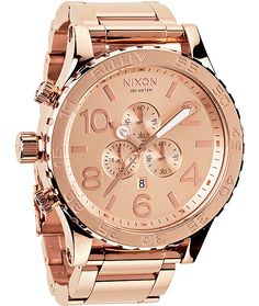 The Rose Gold Nixon 51-30 Chrono watch is a high end chronograph timepiece with tons of timekeeping options.
