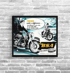 Affiche BSA Twins 1954 - Garage Atelier Vintage - Limited Edition