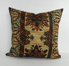 Southwestern Decorative Pillow Cover, Throw Pillow, Cushion Pillow, Rust, Green, Tan, 20 x 20