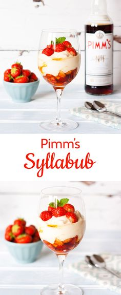 - Pimm's for Dessert – Boozy Strawberry Syllabub A glass of Pimm's and lemonade epitomises the English countryside. As well as being delicious in drinks try using Pimm's in a dessert – like this quick and easy boozy Pimm's & strawberry syllabub Pimms And Lemonade, Just Desserts, Dessert Recipes, Syllabub, Party Food And Drinks, Strawberry Recipes, English Countryside, Summer Recipes, Sweet Recipes