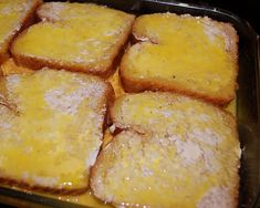 """Breakfast Casserole  12 slices bread  18 oz shredded cheese  1 lb favorite meat  10 Eggs  Salt/Pepper  Butter  Butter 1 side bread slices. Place 6 slices bread buttered side down in 9x13""""  pan. Top with meat/cheese.  Place 6 slice bread, buttered side up, on top. Beat 10 eggs in bowl. Add salt/pepper. Pour egg in casserole dish/cover all bread with beaten egg. Cover pan w/foil & refrigerate over night.  Keep foil on/bake 350 @ 1 hour. Remove foil and bake 1/2 hour or until bread brown. Let…"""