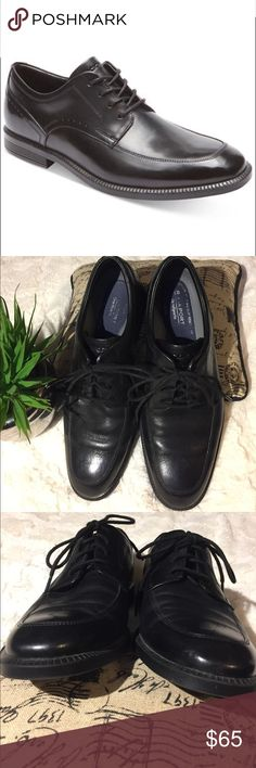 VGUC Men's Rockport DressSports Trutech Shoes, 9.5 Very good used condition. No rips, tears or stains.  Black leather lace-up oxford. Rubber slip resistant sole. Full arch support. Moisture-wicking Dewitt lining aids in fighting odor causing bacteria. Padded insole. Rockport Shoes Oxfords & Derbys