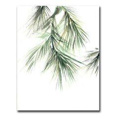 Minimalist Pine Tree Branch Watercolor Painting Art Print, Green Watercolour Modern Wall Art