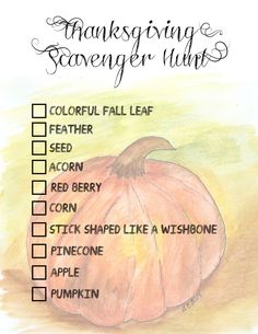Thanksgiving Scavenger Hunt Printable | creativecaincabin.com